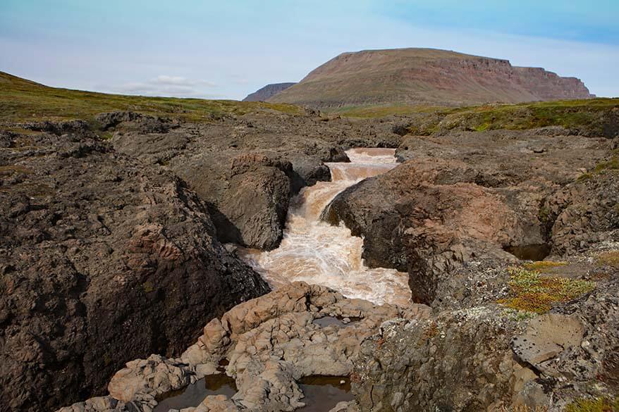 River at Qorlortorsuaq waterfall near Qeqertarsuaq in Greenland