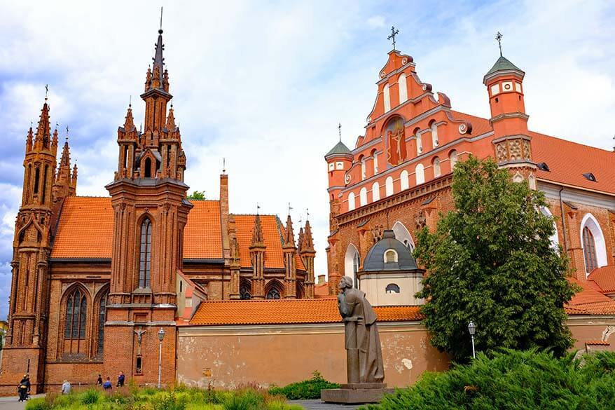 St. Anne's Church and the St. Francis of Assisi Church in Vilnius Lithuania