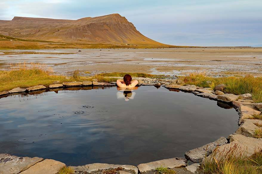 The most beautiful natural hot tub in the Westfjords in Iceland