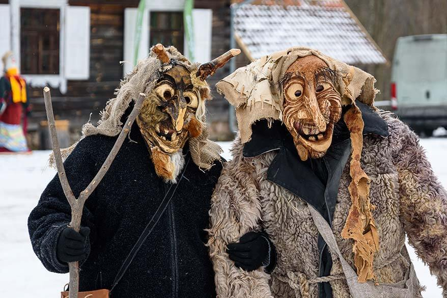 Traditional carnival masks in Lithuanian Folk Museum in Rumsiskes