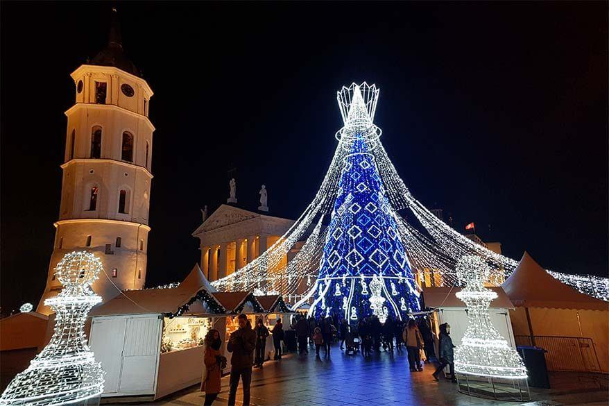 Vilnius Christmas tree and Xmas market at the Cathedral Square