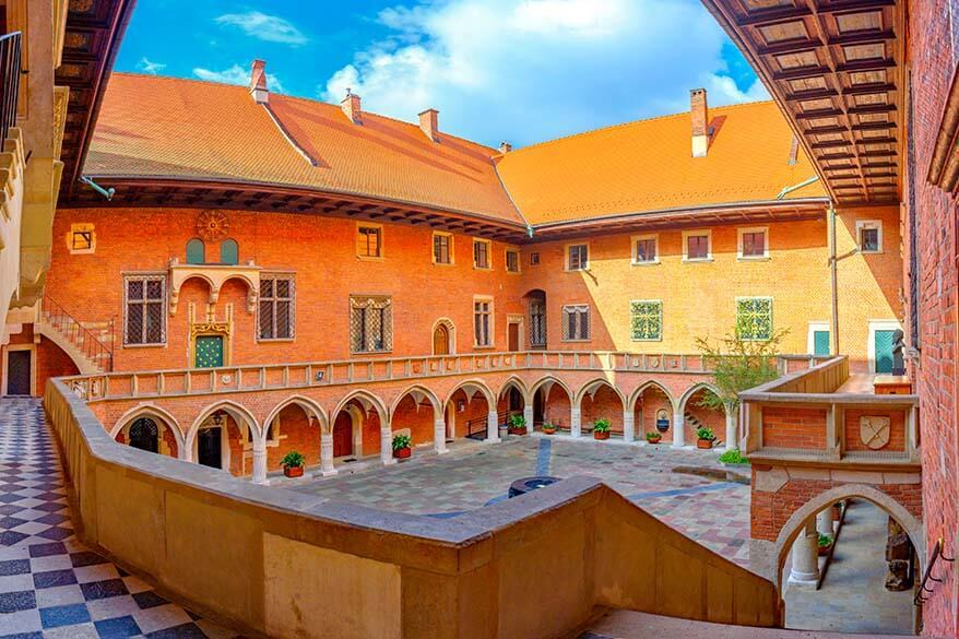 Beautiful courtyard of the Jagiellonian University in Krakow