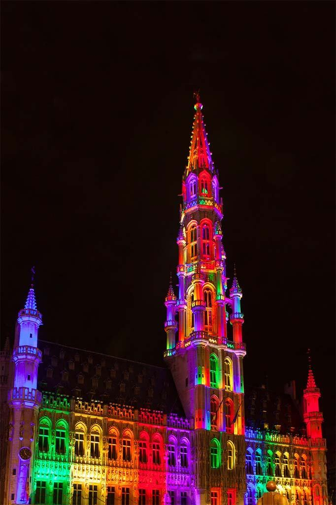 Brussels Town Hall lit during the light show