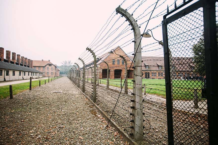 Camp fence at Auschwitz concentration camp
