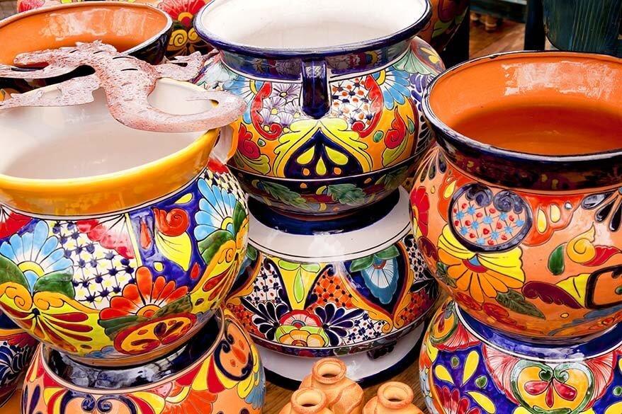 Colorful ceramic pots at Tlaquepaque Arts & Crafts Village in Sedona, AZ