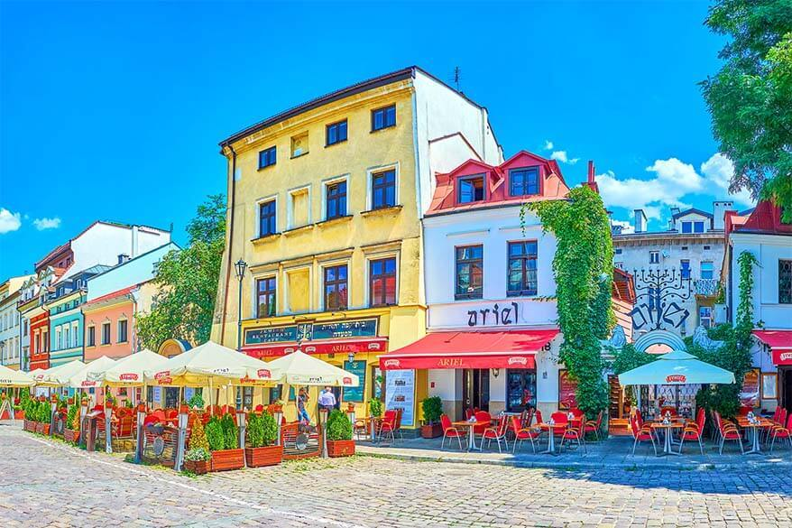 Colorful restaurants of Kazimierz district in Krakow