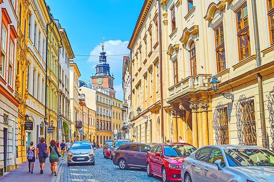 Colorful streets of the Old Town in Krakow Poland