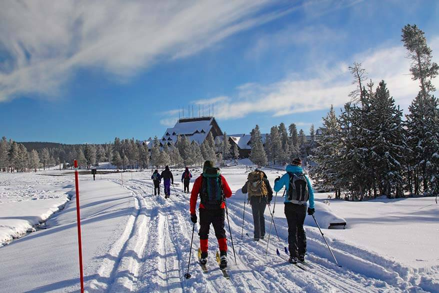 Cross country skiing in Yellowstone in winter