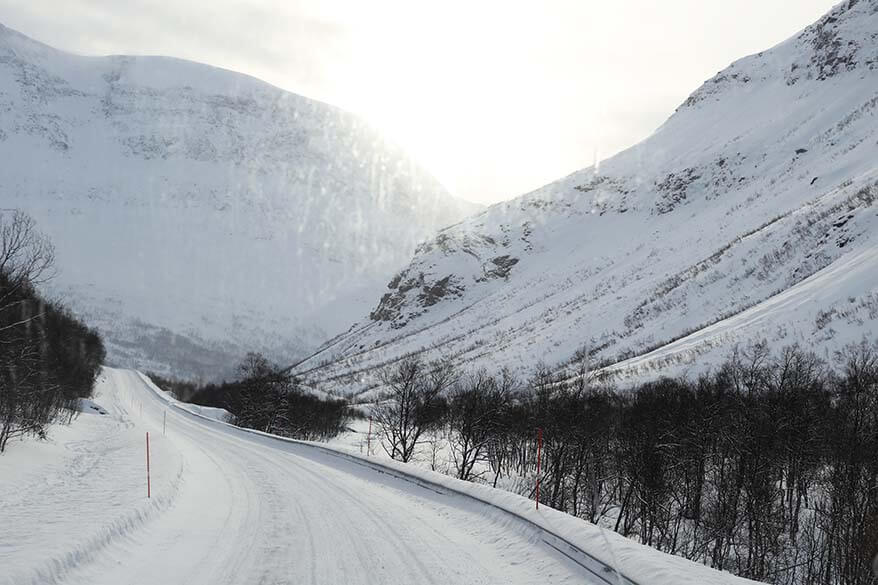 Driving on icy roads in Tromso in winter