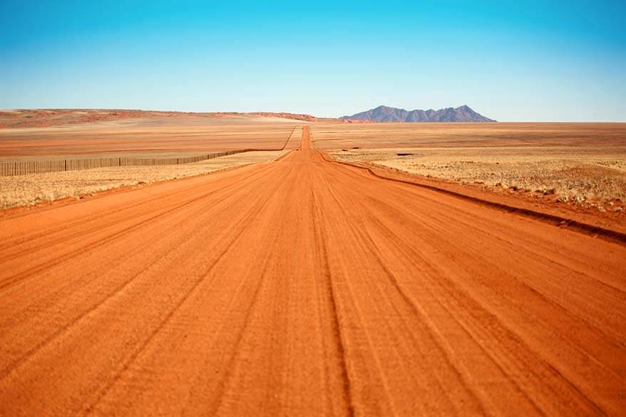 Empty gravel road in Namibia
