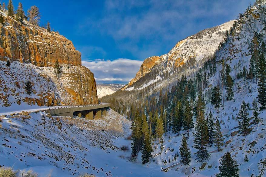 Golden Gate Canyon in Yellowstone in winter