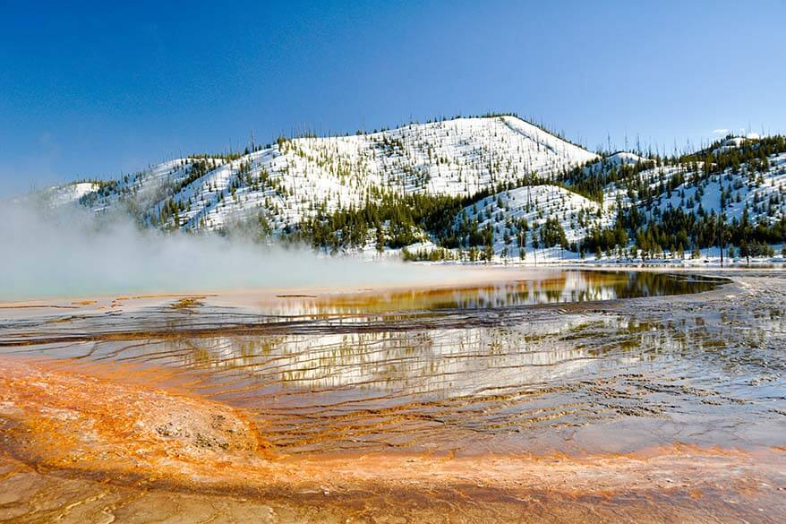 Spring in Yellowstone - Grand Prismatic Spring in Yellowstone in May