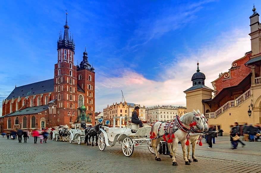 Horses and carriages on the Market Square in Krakow