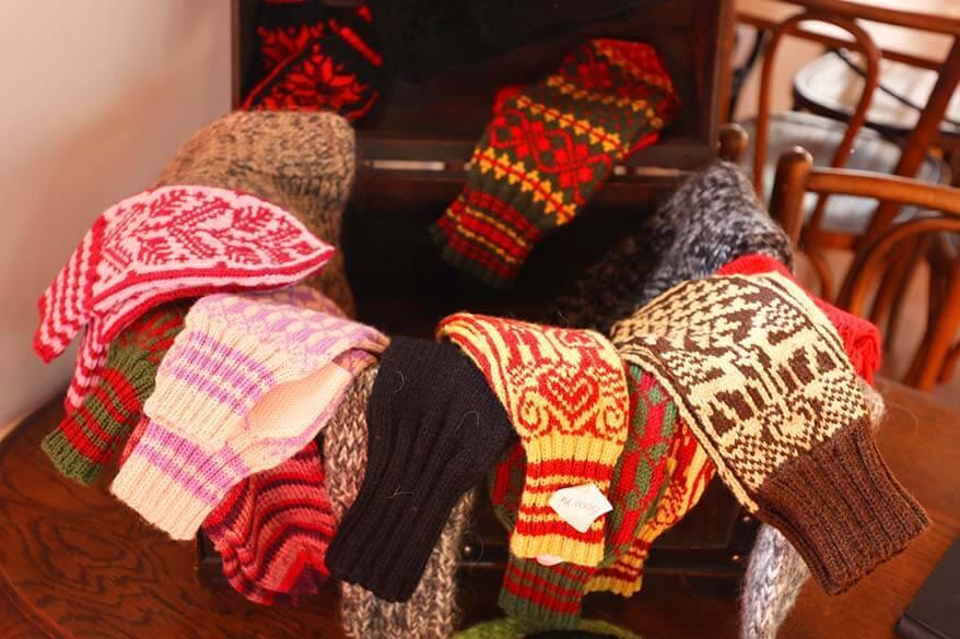 Icelandic wool socks and mittens for sale at Franska Kaffihusid in the Westfjords