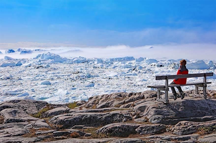 Ilulissat Icefjord on a sunny summer day