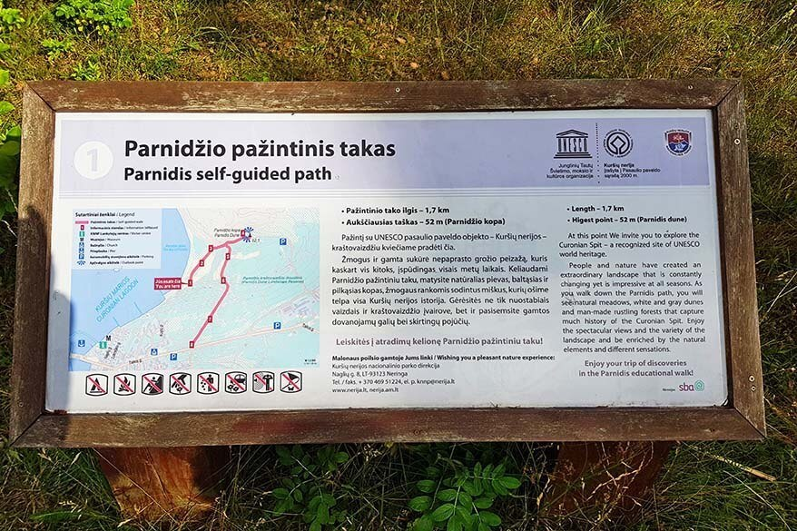 Information panel for Parnidis Cognitive Walk in Nida Lithuania