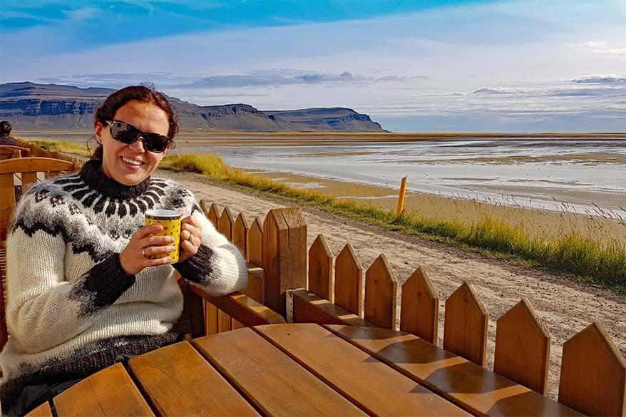 Jurga Rubinovaite from Full Suitcase at the Raudasandur Beach in Iceland's Westfjords