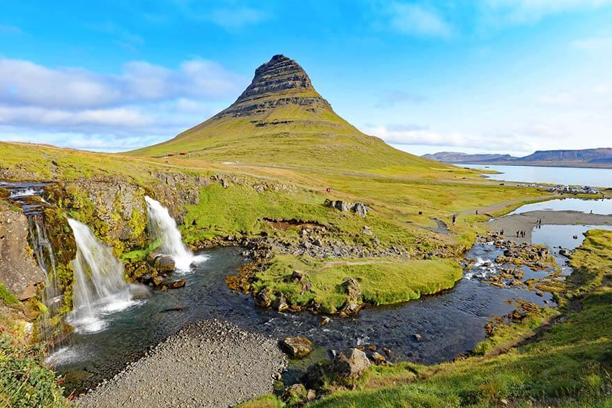 Kirkjufell and Kirkjufellsfoss on Snaefellsnes Peninsula in Iceland