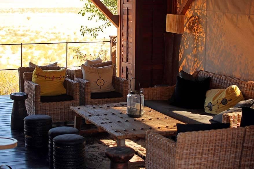 Lounge at the Dolomite Camp in Etosha National Park