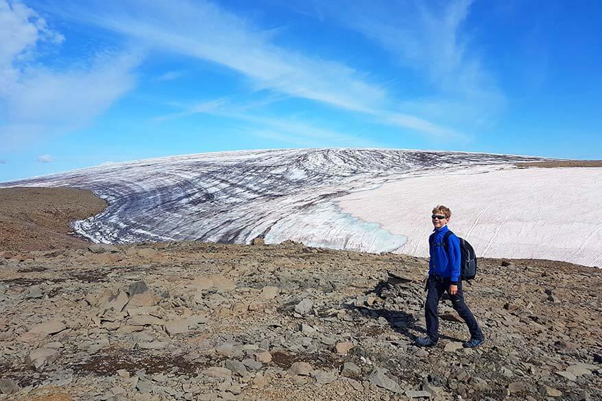 Lyngmark Glacier on Disko Island in Greenland on a sunny summer day