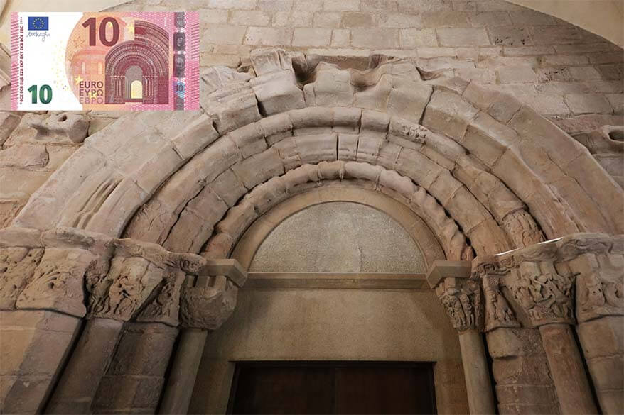 Montserrat Monastery doorway and a 10 EUR note depicting it