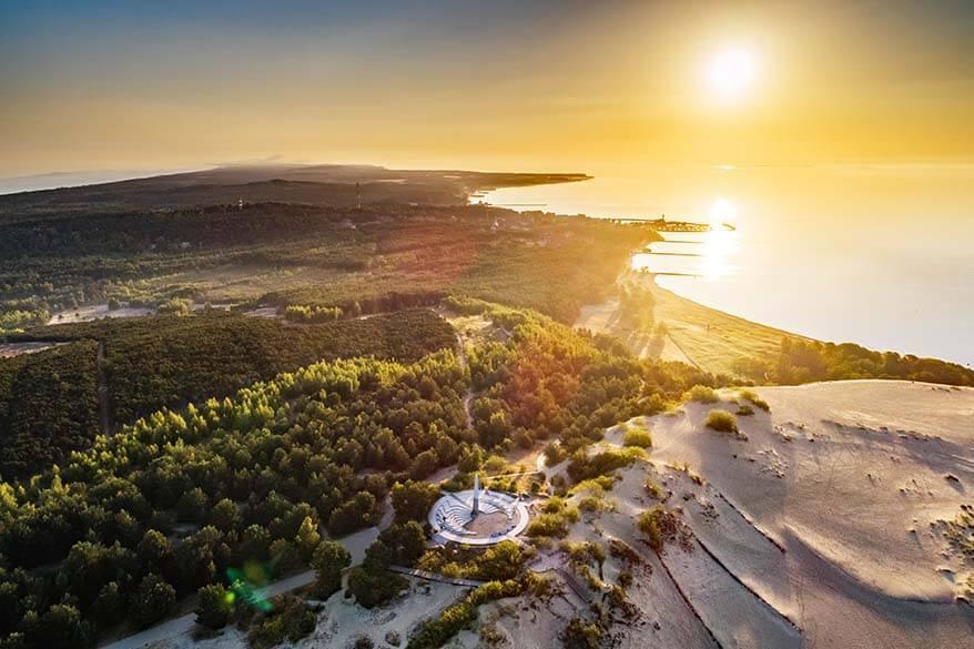 Parnidis Dune and Nida town aerial view