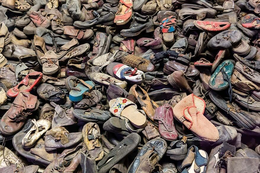Piles of shoes of Nazi victims at Auschwitz concentration camp
