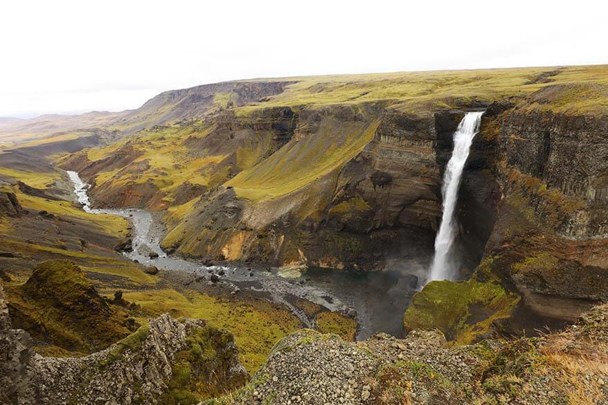 Places to visit in Iceland - Haifoss waterfall in Icelandic highlands