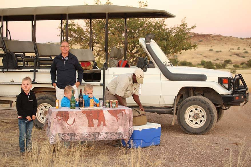 Private safari ride in Namibia with kids