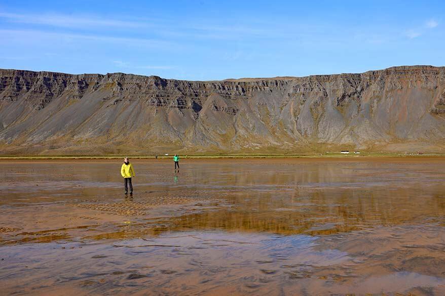 Raudisandur beach reflections at low tide
