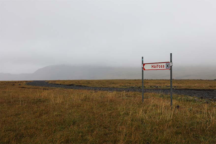 Road sign to Haifoss waterfall