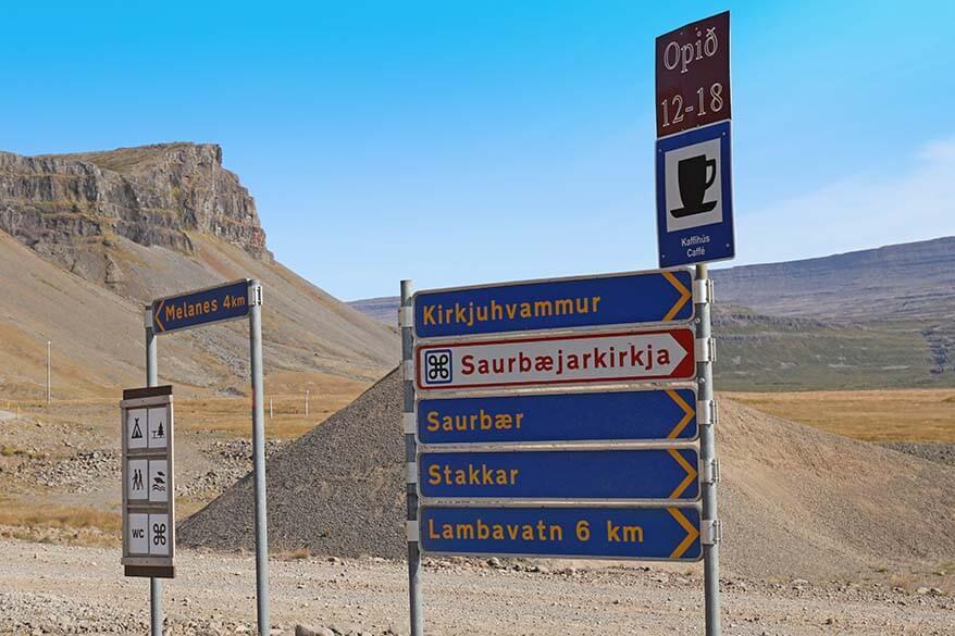 Road signs at the Raudasandur Beach in Iceland