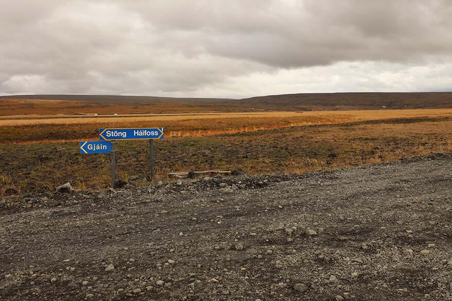 Road signs to Haifoss on the road 332 in Iceland