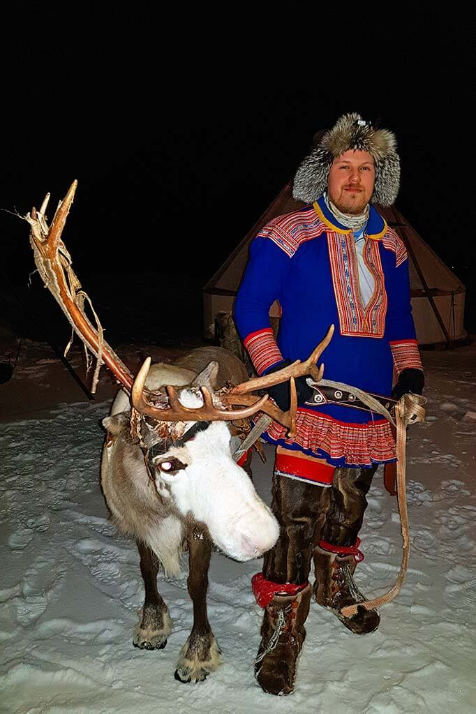 Sami with reindeer in Tromso Norway