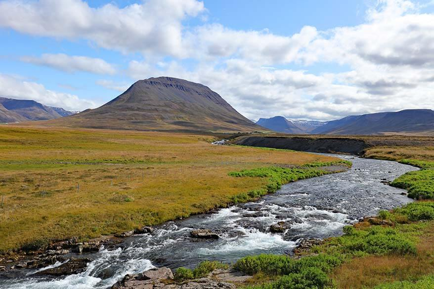 Scenery along the scenic road 76 in North Iceland