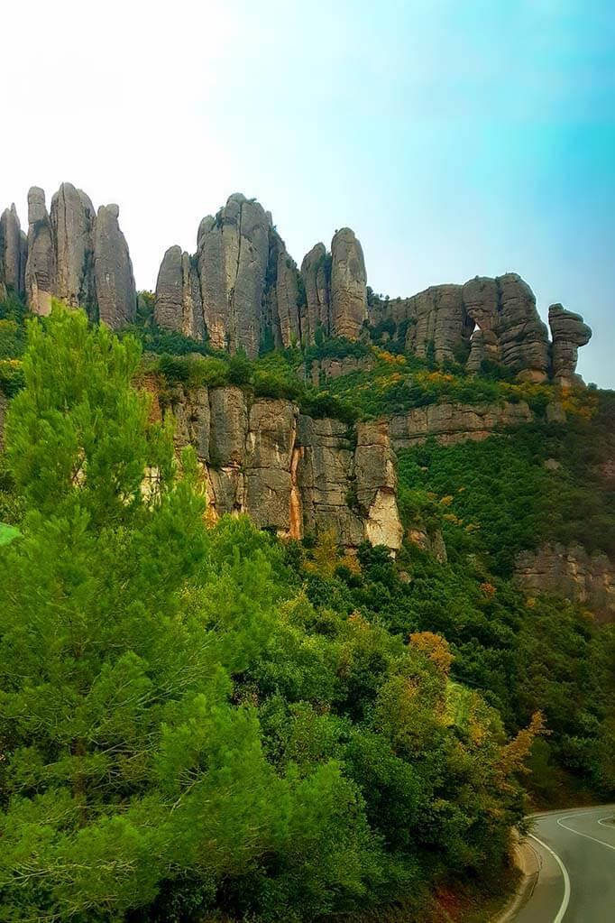 Scenic road near Montserrat in Spain