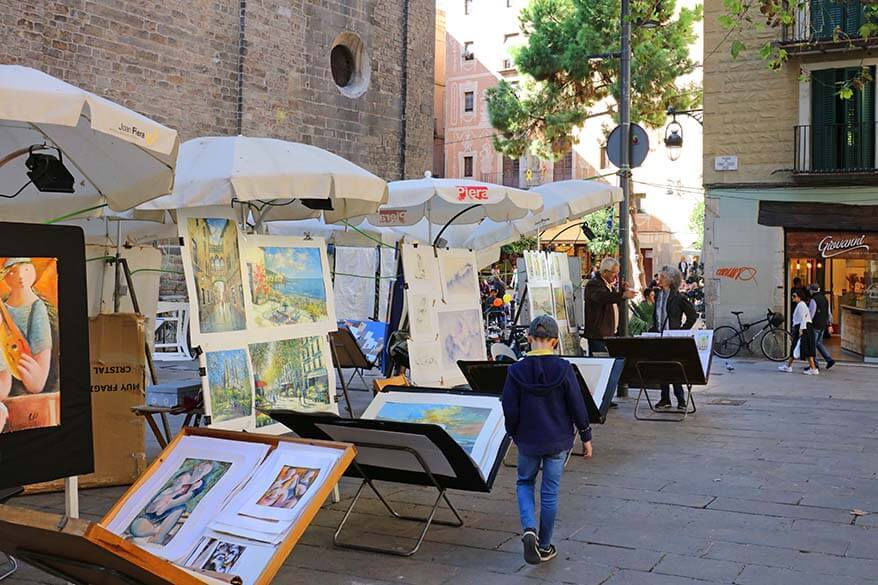 Street vendors selling art in Barcelona old town