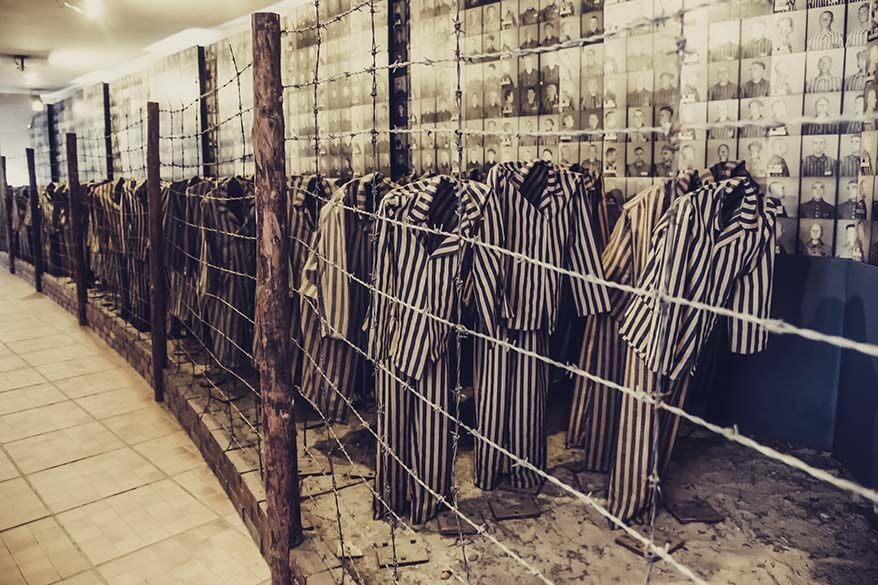 Striped pyjamas at Auschwitz concentration camp