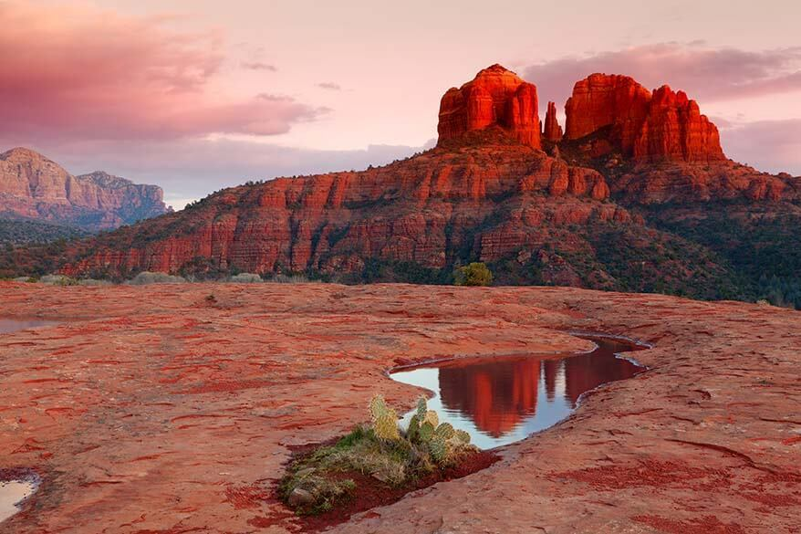 Sunset at the Cathedral Rock in Sedona, AZ