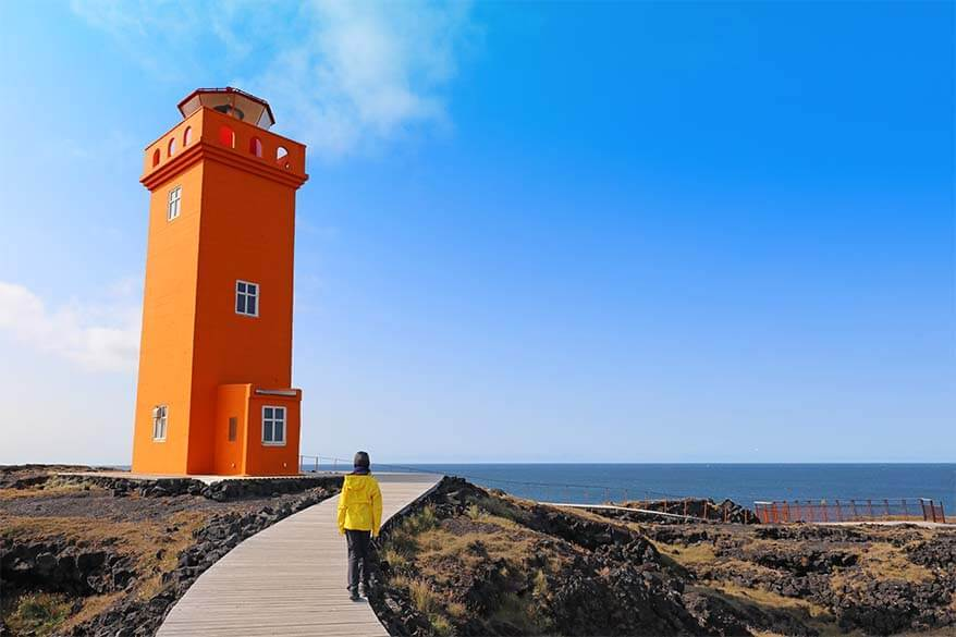 Svortuloft Lighthouse on Snaefellsnes Peninsula - one of the best areas to visit in Iceland