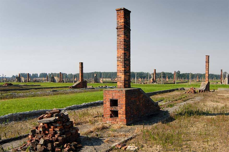 The ruins of barracks and chimneys at Auschwitz Birkenau