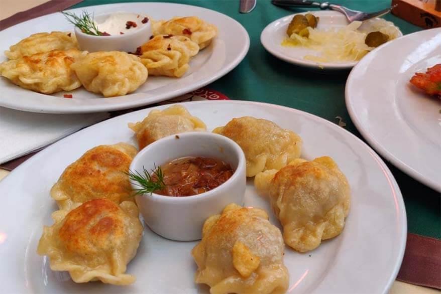 Traditional Polish food at Pod Wawelem in Krakow