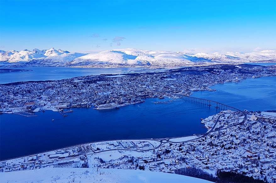 Tromso view from Storsteinen reachable by Fjellheisen cable car