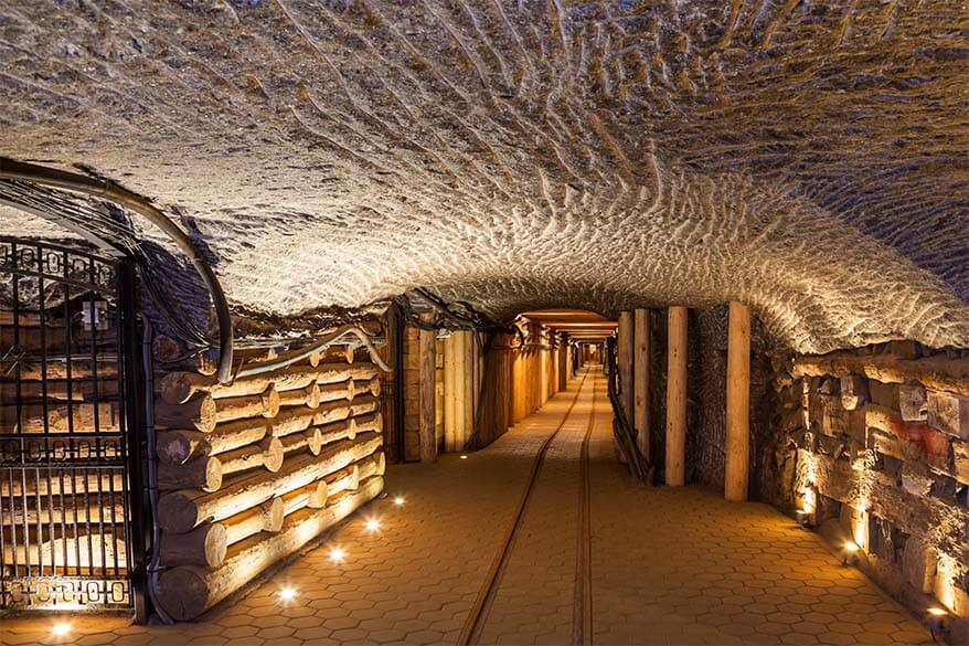Underground tunnels and corridors at Wieliczka Salt Mine Krakow