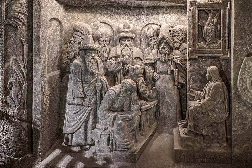 Wieliczka salt mine - carved salt statues of King Herod and the wise men