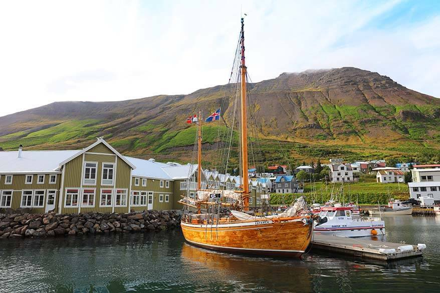 Boats at Siglufjordur harbor in Iceland