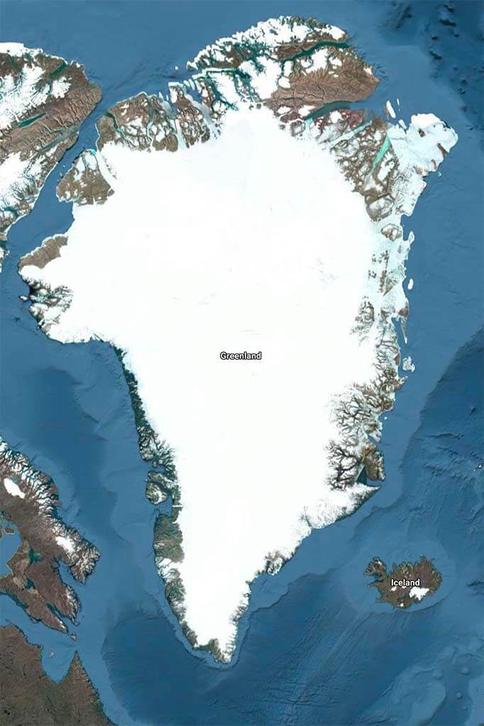 Greenland and Iceland on the map