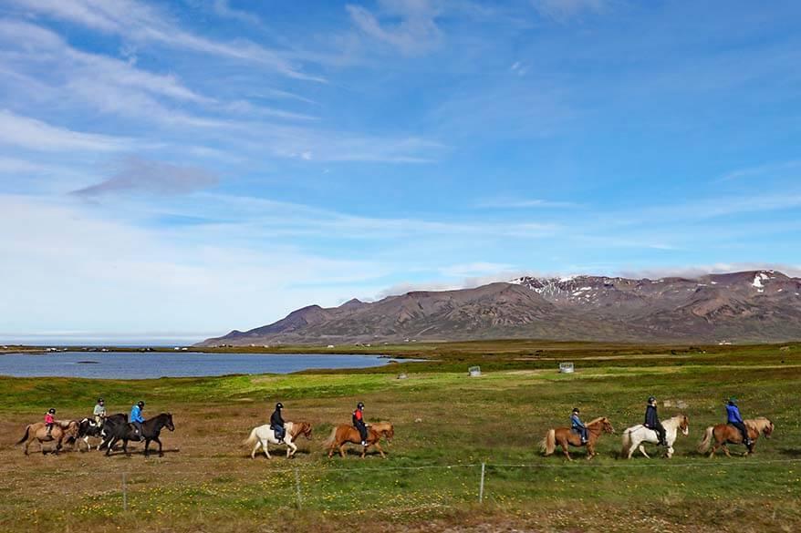 Horse riding near Langhus farm at Hópsvatn in North Iceland