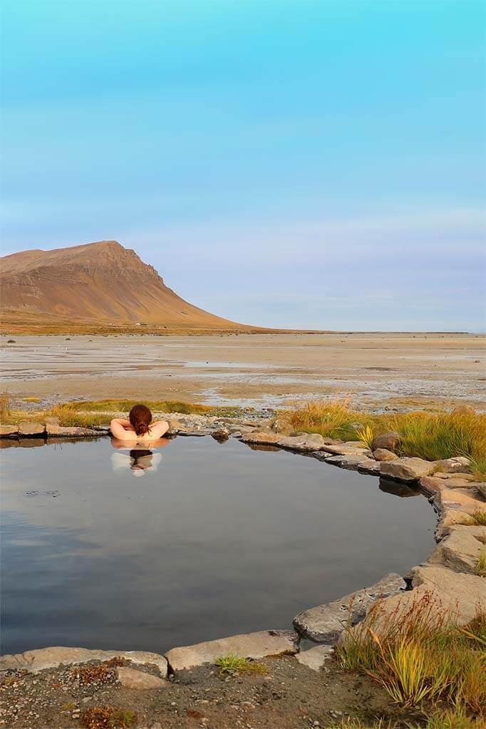 Hot springs in the Westfjords in Iceland