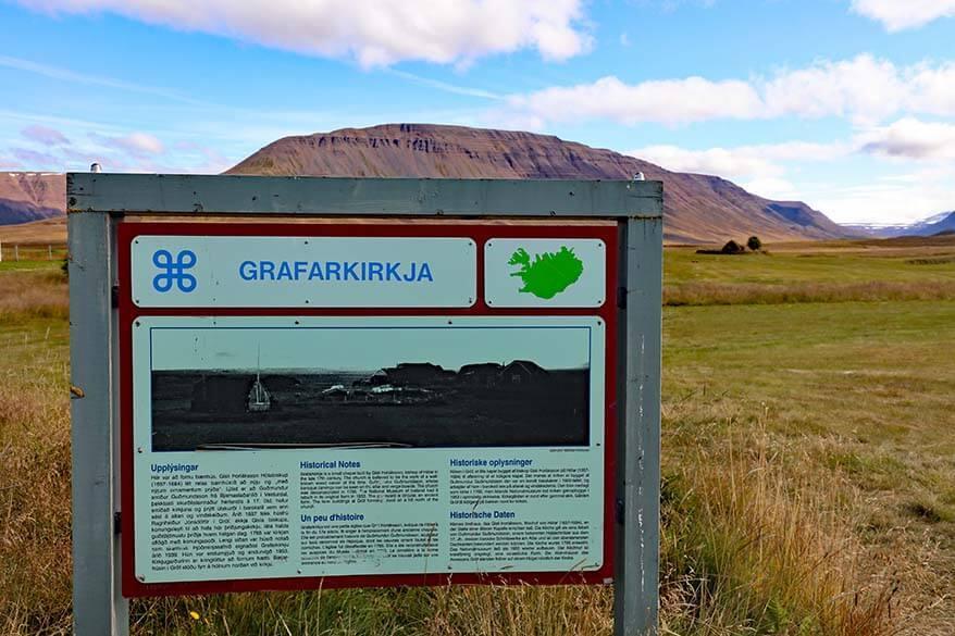 Information panel at Grafarkirkja turf church
